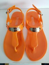 MICHAEL KORS MK PLATE ICONIC JELLY LOGO ORANGE THONG SANDALS 5 I LOVE SHOES