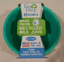 Set of 3 Replay durable recycled plastic baby kids bowls blue green yellow bowl