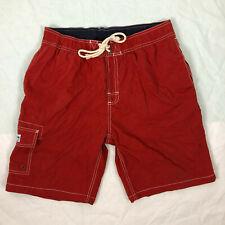 Gazman L Mens red board shorts, pockets, elastic waist, cotton polyester