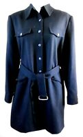 John Meyer Coat Black 100% Wool Woman SZ 14 Button Front Lined Belted Vtg