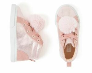 Crazy 8 Pink High Top Sneakers with Pompom Toddler Girls size 7 NEW