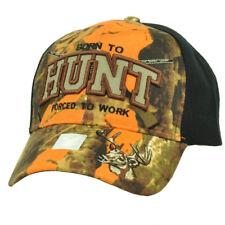 Born To Hunt Forced To Work Orange Camouflage Black Hat Cap Adjustable Hunting