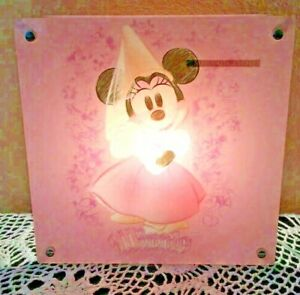 Disney Minnie Mouse Princess 2 Sided Acrylic Lamp - Working and Adorable, Rare