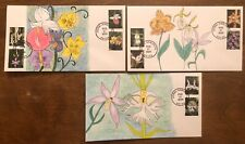Wild Orchids FDC First Day 10 stamps on a 3 cover set Hand Drawn Cachet #1/1