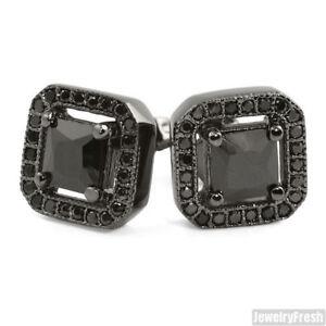 All Black Princess Cut Cubic Zirconia Mens Stud Earrings