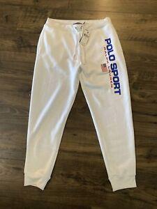Polo Sport Ralph Lauren Classics White USA Logo Jogger Sweatpants Size M Medium