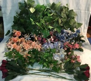 Home Interiors Lot Silk Flowers/ Candle Rings/ Greenery