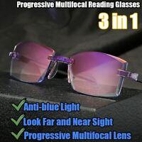Progressive Multifocal Reading Glasses Rimless Anti Blue Light Presbyopia Unisex
