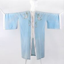 Vtg c.1920's - 1930's Powder Blue Floral Embroidered Dressing Gown Kimono Robe