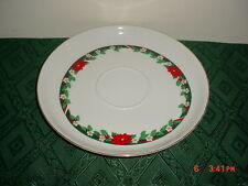 """TIENSHAN """"DECK THE HALLS"""" 10 3/4"""" LRG CHIP & DIP PLATTER-LIP/WHITE-RED/CLEARANCE"""