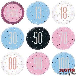 "HELIUM Foil Balloon Milestone 13th-100th 18"" Happy Birthday Round Party Balloons"
