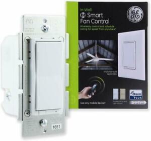 GE 55258-1 Z-Wave Plus Wireless Smart Fan Control - White/Light Almond