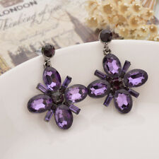 Fashion Womens Crystal Rhinestone Gemstnone Drop Dangle Ear Stud Clip Earrings
