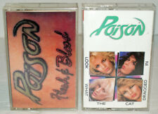 POISON Lot of 2 Cassette Tapes, Flesh and Blood & Look What The Cat Dragged In