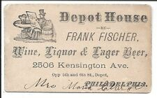 Early Depot House Bar/Tavern Business Card, Kensington Ave, Philadelphia c1870s