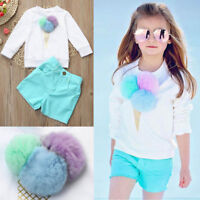 Toddler Kids Baby Girl Pullover Sweatshirt Tops+Shorts Pants Outfits Clothes Set