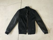 New Zara Man Faux Leather Small Black Jacket Coat Biker Moto Diamond Quilted XS