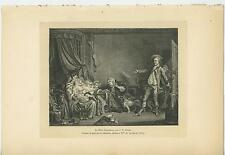 ANTIQUE MOTHER CHILDREN BREAST FEEDING CAT COLLIE DOG GUITAR HUNTER FAMILY PRINT