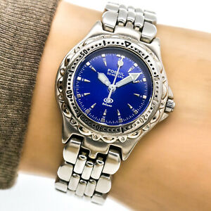 Fossil Blue Womans Watch AM3099 Blue Dial Silver Bezel Band 100m Working