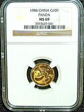 CHINA, 1984, Gold Panda, 1/10 Oz, NGC MS-69