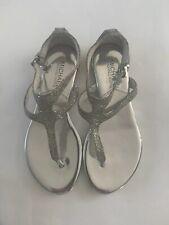 MICHAEL MICHAEL KORS Silver Glitter Strappy Buckle Fastening Sandals US 6M UK 3