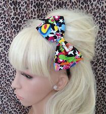 "MULTICOLOUR 80s 60s FLOWER RETRO PRINT 5"" COTTON SIDE BOW ALICE HAIR HEAD BAND"