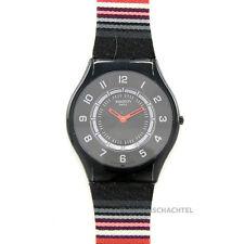 Swatch Reloj skin Poncho sff120 Análogo negro rojo NUEVO