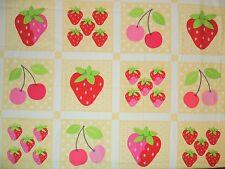 Retro Strawberry & Cherry Blocks Fruit Quilting Fabric by Yard #770