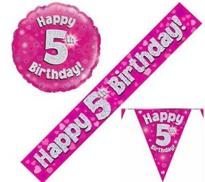 5th Birthday Pennant Flag Banner Pink and Silver Party Decorations Age 5 Girls