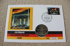 Marshall Islands coin cover FDC, German Re-unification, limited edition 1990