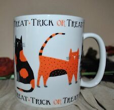 NEW 222 FIFTH SPOOKY CATS Halloween JUMBO Soup/Coffee Mug TRICK or TREAT