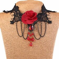 41L Gift Boxed Victorian Goth Red Bead Rose & Chain Black Lace Choker Necklace