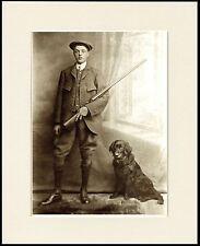 FLAT COATED RETRIEVER MAN & GUN LOVELY LITTLE DOG PRINT READY MOUNTED