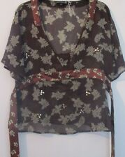 Pure Silk Limited Collection on trend brown floral Kaftan size 14
