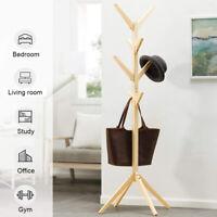 Wooden Coat Stand Rack Clothes Hanger Hat Tree Vintage Jacket Bag 8 Hook 5@%