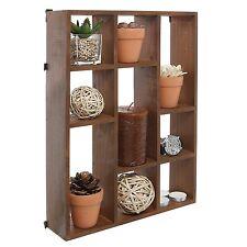 15 Inch Wall Mount Vertical or Horizonal 9 Slot Rustic Wood Floating Shelves /