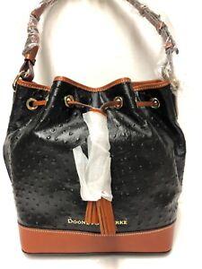 Dooney & Bourke BLACK Caldwell Ostrich-Emb Tasseled Drawstring Bucket Bag NWT