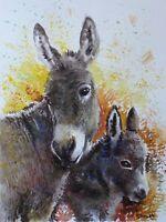 ORIGINAL WATERCOLOR PAINTING Donkeys ANIMALS ART BY ARTIST