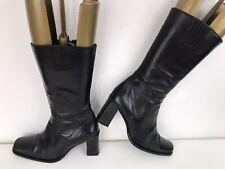 NEXT Leather Cushioned Mid Calf Zip Block Heel SQ Toe Elastic Cuff Boots Black 6