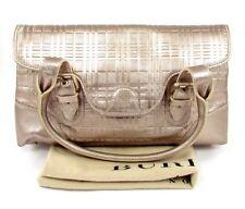 Bureberry Gold Metallic Leather Satchel  Nova Check Embossed Shoulder Bag New