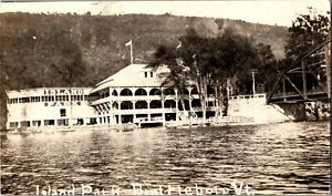 RPPC Island Park, Brattleboro VT Pavilion Grandstand c1912 Vintage Postcard U30