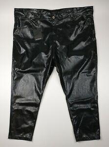 Liquor N Poker Black Leather Look Croc  Trousers Pants UK 28 Plus Size BNWT
