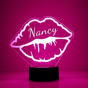 Lips LED Acrylic Night Light - Personalize Free, Custom Gift, With remote