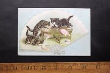 Antique Victorian Trade Card Embossed Kittens on Hand Fan Making a Milk Mess