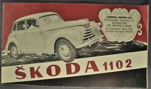 1950 Skoda 1102 Brochure Sedan Convertible Wagon Nice Original 50 Canadian