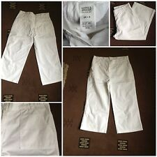ladies marks and spencer cropped trousers white size 8 cotton