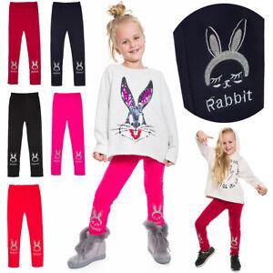 Kids Thick Full Length Leggings Rabbit Stretch Cotton Fleece Girl Pants S2811B-2