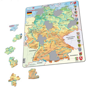 Map of Deutschland Physical- Frame/Board Jigsaw Puzzle 29cm x 37cm (LRS K40-DE)