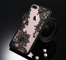 Iphone 8 estuche Cubierta Delgado Diseño De Encaje Negro Suave Silicona TPU