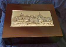 "Jewerly Box, Tea Box Wood silver plate made israel HAZORFIM 9x12x4"" Judaica Rare"